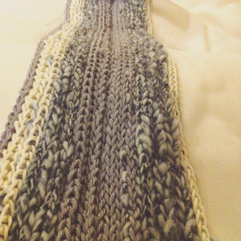 fingerknitted scarf